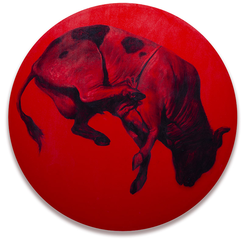 """Stasis 2, 48"""" diameter, oil on canvas, 2019. Price on  request ."""