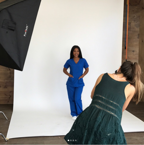 #RealCaregivers: @iamnursemo - Out in LA repping for all the young black girls in #westphilly ! Gratitude to @allheartscrubs for working with my Petite 5'2.... ok 🙄 5'1 frame, using actual Nurses to model scrubs 💓 #AD