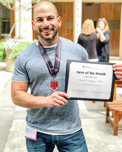 """@dr.onury - So honored to have been awarded Save Of the Month! """"For diagnosing massive PE on bedside ECHO and starting tPA while the patient was still on the EMS gurney""""I love my job. I really, really do.Moments like this are about confidence, and the willingness to act on what is often limited data. It's about believing in yourself, your knowledge base, and your instinct. It's taking a calculated risk in efforts of saving a life. It's scary, it's fast, and often unforgiving. I'm so fortunate to be surrounded by some of the best and brightest minds here at Stanford. They're amazing people that push me to excel, and force me to grow. These are the moments I'll #neverforget @stanford.med @stanfordemed #medicine #emergencymedicine#ultrasound #howtosavealife #motivation#healthcare #nursing #doctor #neverquit#believeinyourself #allheartsquad"""