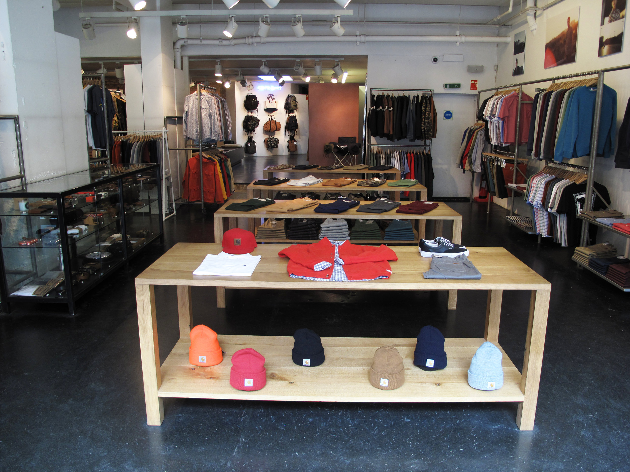 Carhartt Store Solid Oak Display Tables
