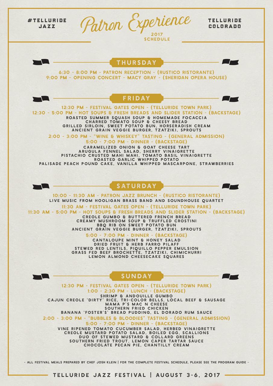 Telluride Jazz Festival | Patron Menu