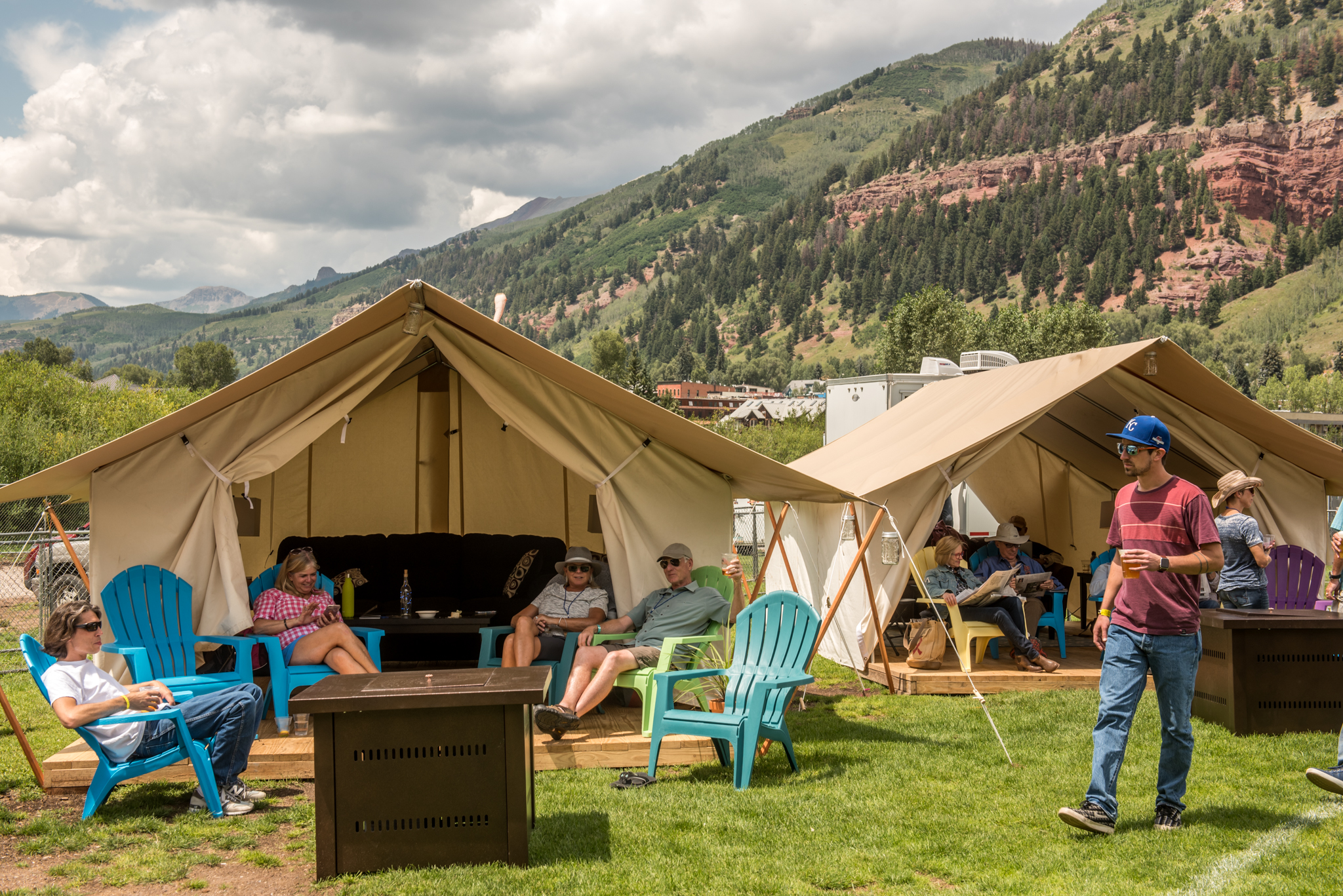 """Safari Cabanas offer shelter or just a great place for your group to call """"home base"""" during the festival."""