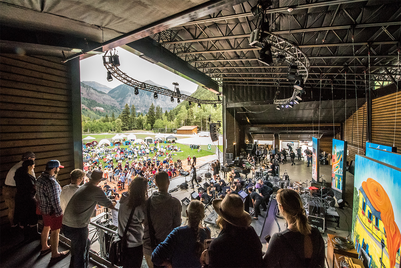 The on-stage viewing area offers an up close show and spectacular mountain views!
