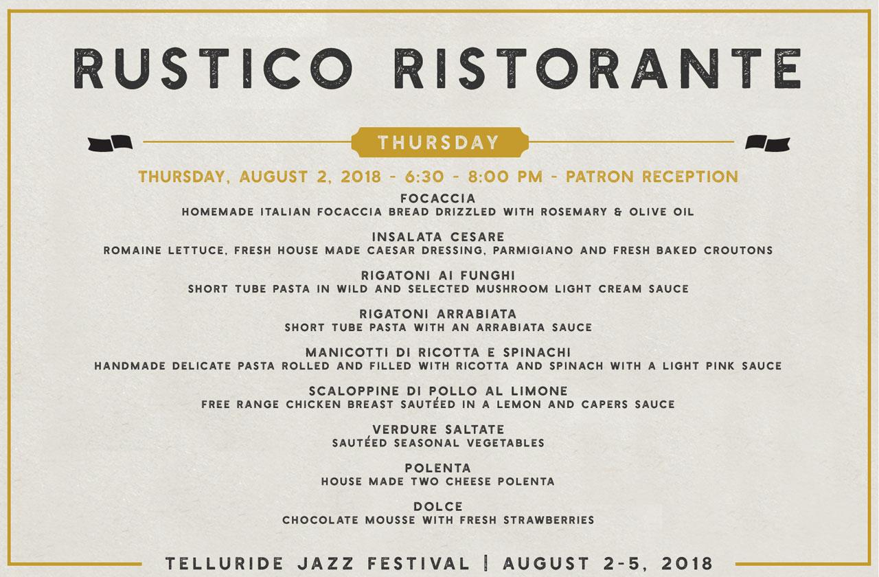 Telluride Jazz Festival | Patron Reception Menu
