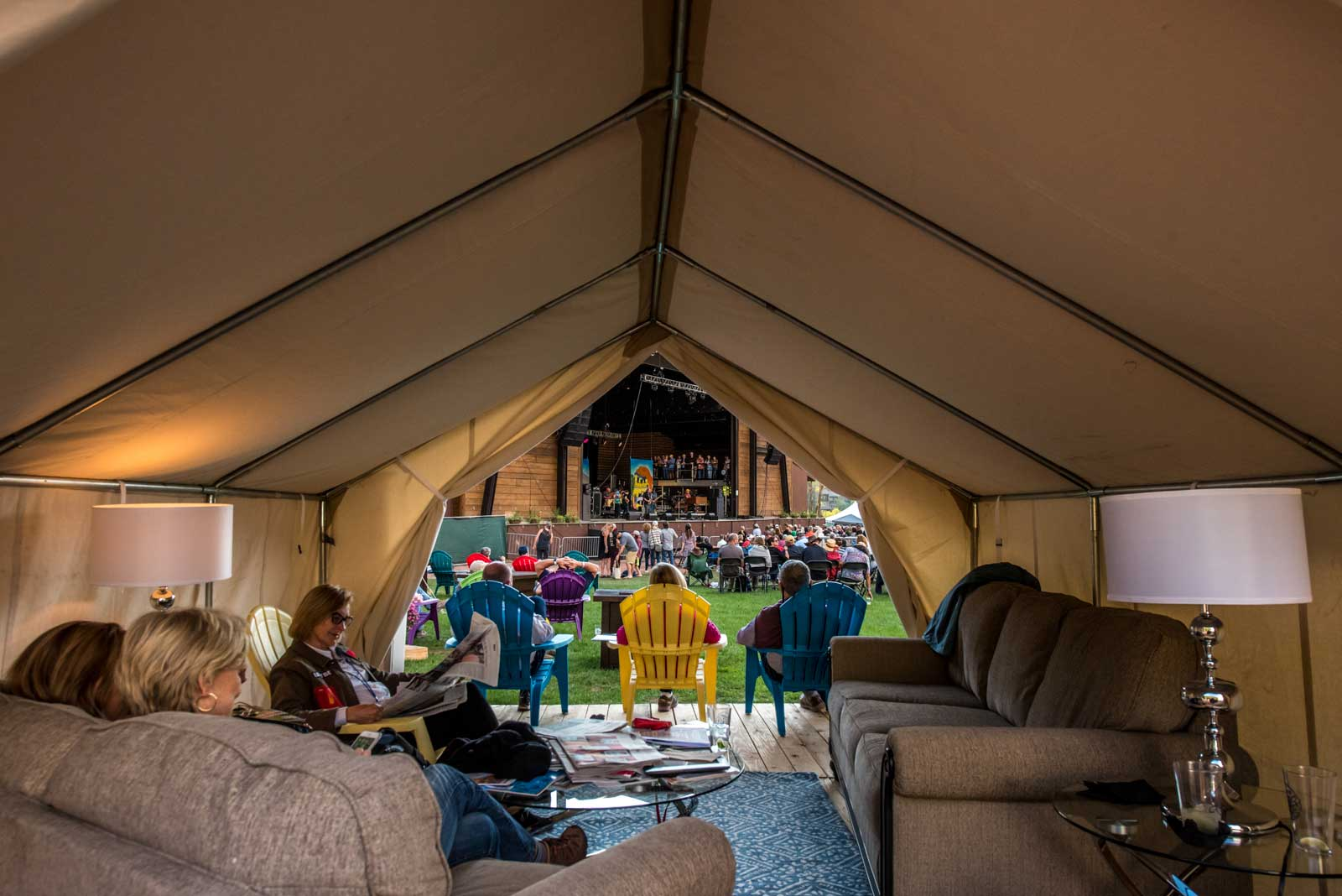 """Safari Cabanas offer shelter or just a great place for your group to call """"home base"""" during the festival. Enjoy the Main Stage entertainment from the comfort of your own Safari Tent curated with luxurious conveniences and a concierge service."""
