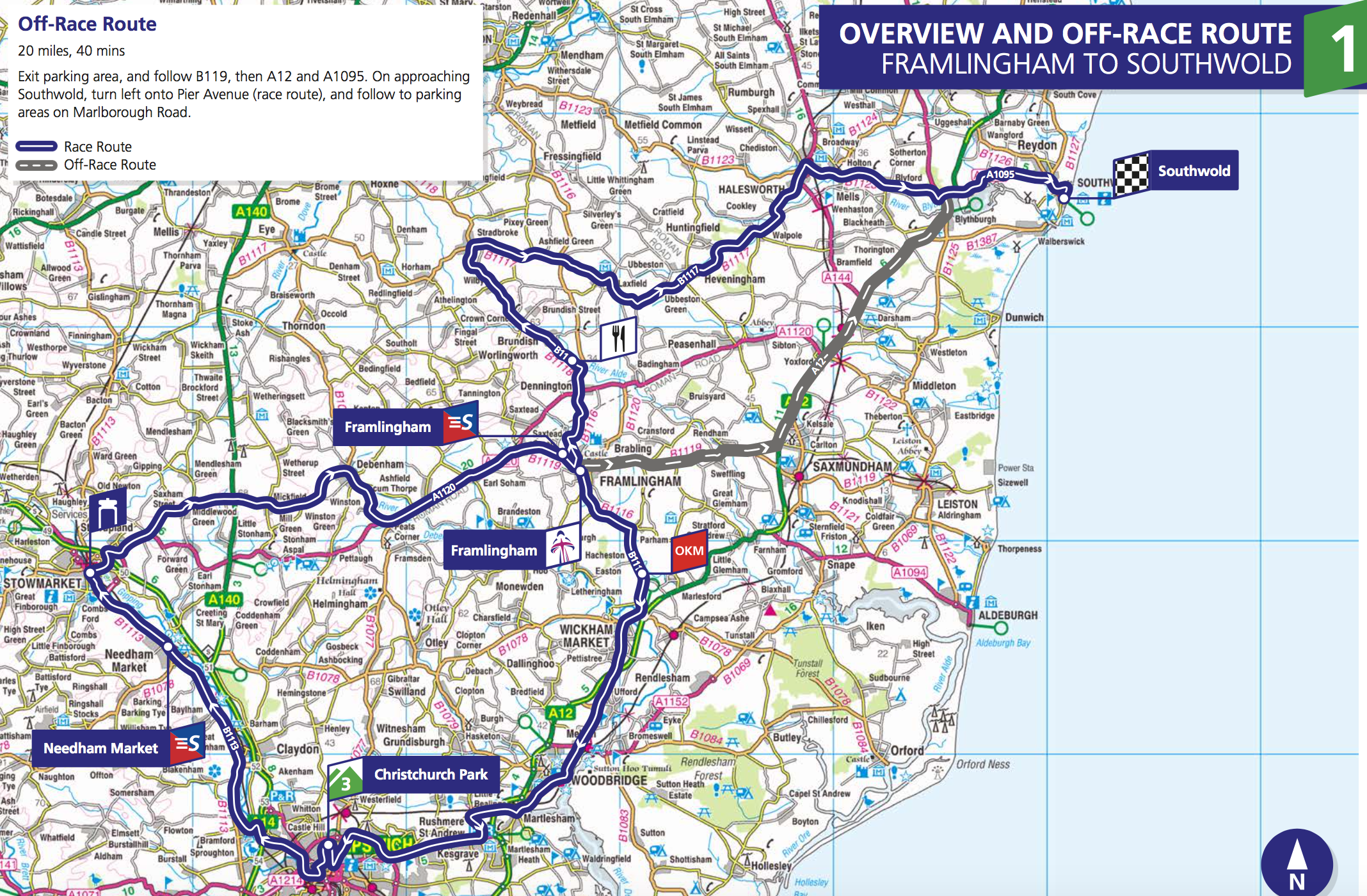 Stage 1. 129.5km from Framlingnam to Southwold. Race starts at 10:30.