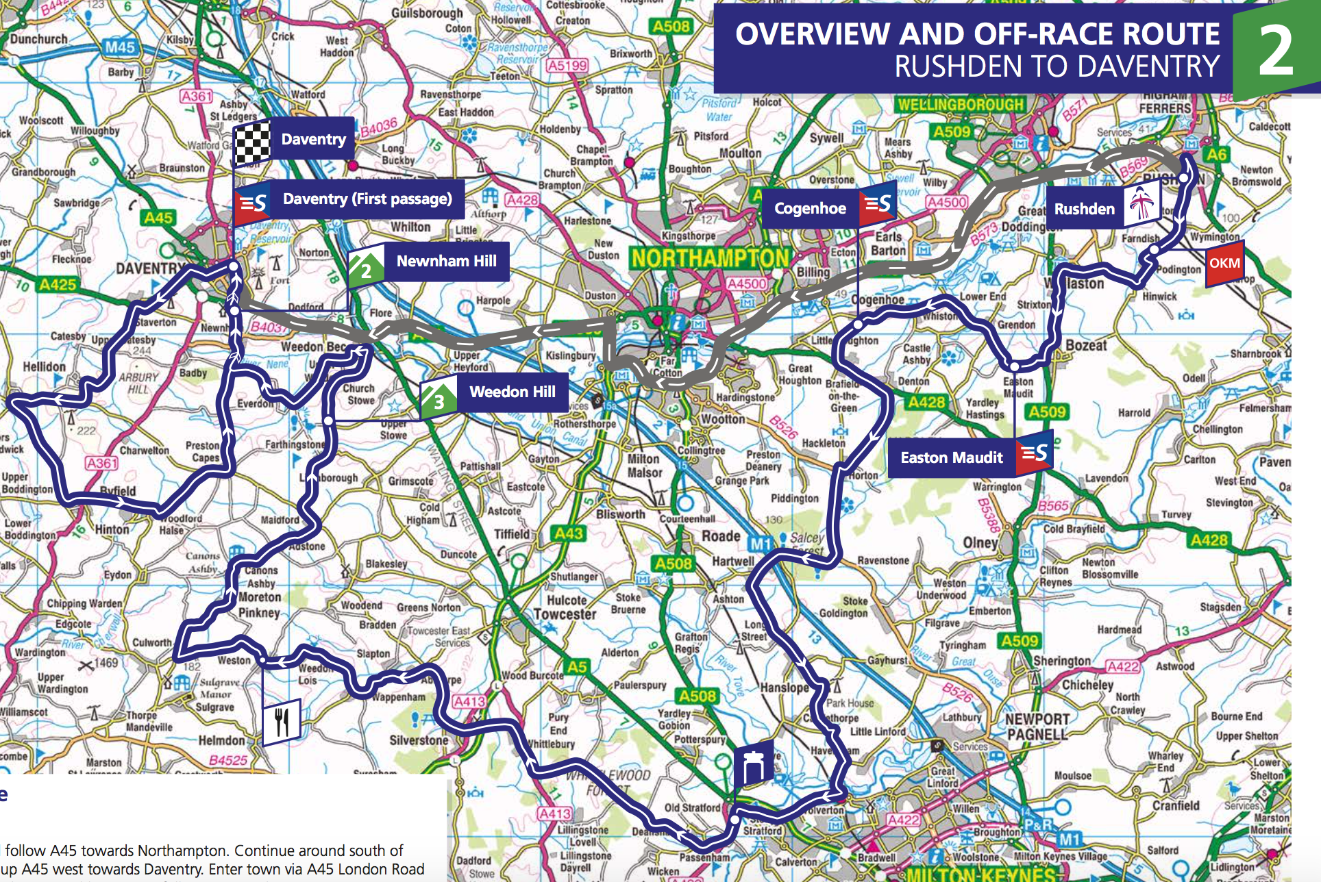 Stage 2. 143.9km from Rushden to Daventry. Race starts at 10:30.
