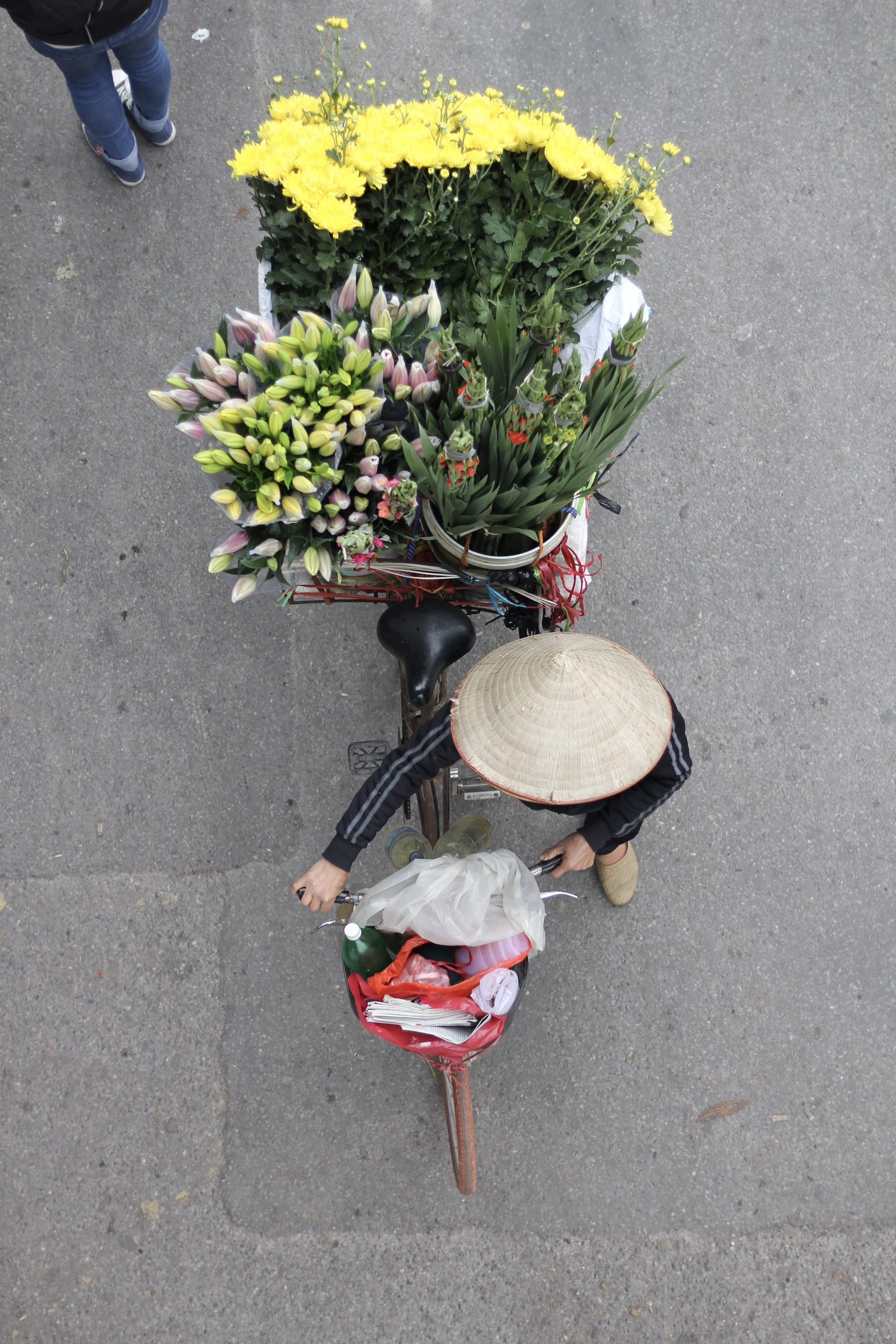 Beautiful flowers carted on the back of a woman's bicycle .