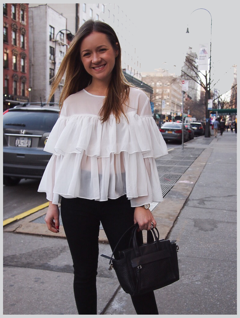White ruffle top for only $14? Yes, please! Check out the post and where to get the shirt for yourself.