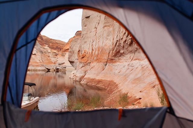 Too windy the first two nights for the tent so we ended up on top of the boat instead.  I'm glad I captured this first... our very own private cozy cove in #forgottencanyonlakepowell