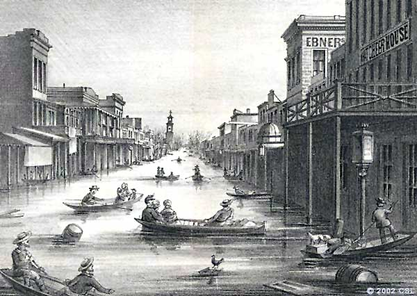 Historic rendering of the What Cheer House (far right) during the great Sacramento floods of 1862.