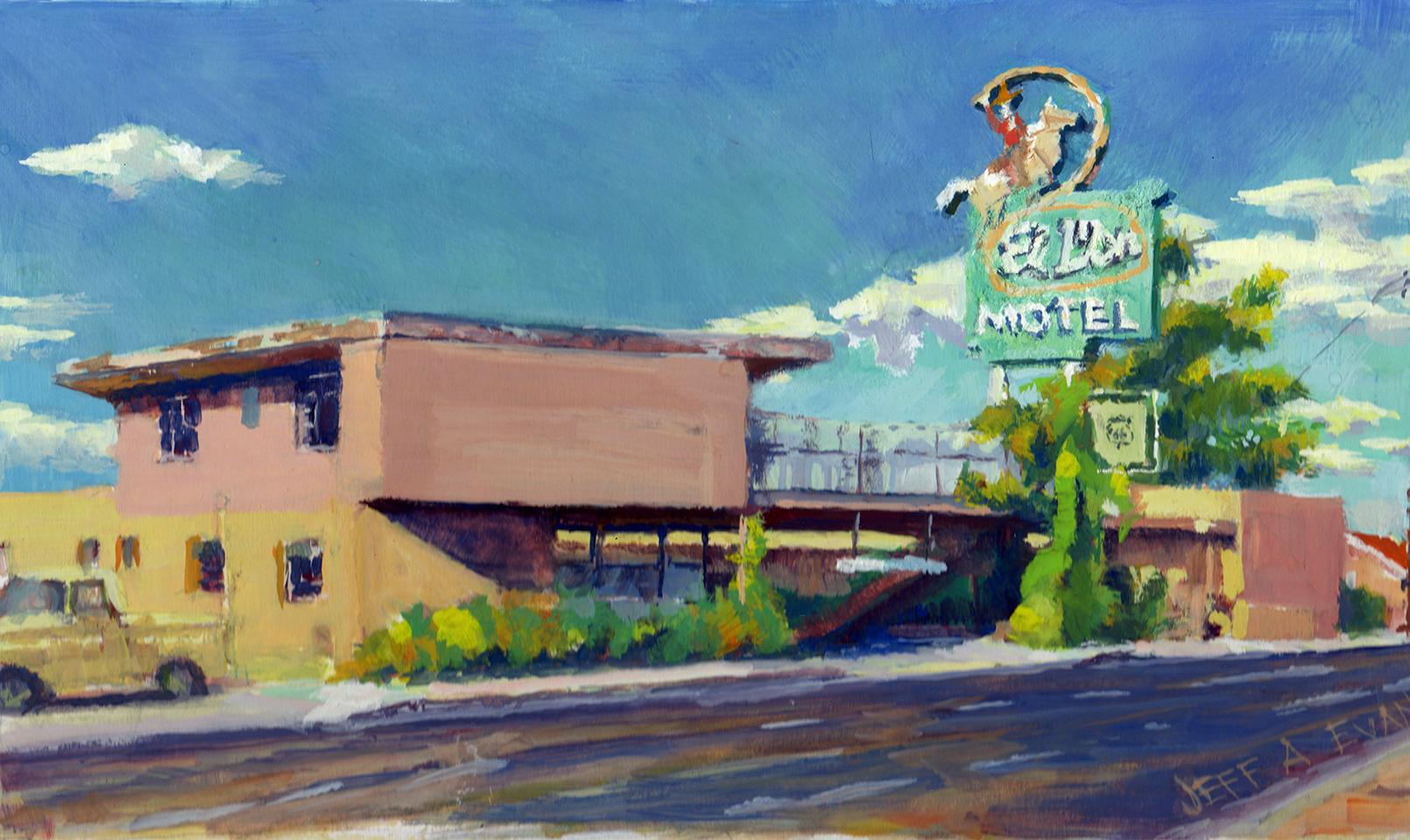 """MAKE MOTELS GREAT AGAIN"" - Albuquerque, NM - 11 x 7 gouache on illustration board"