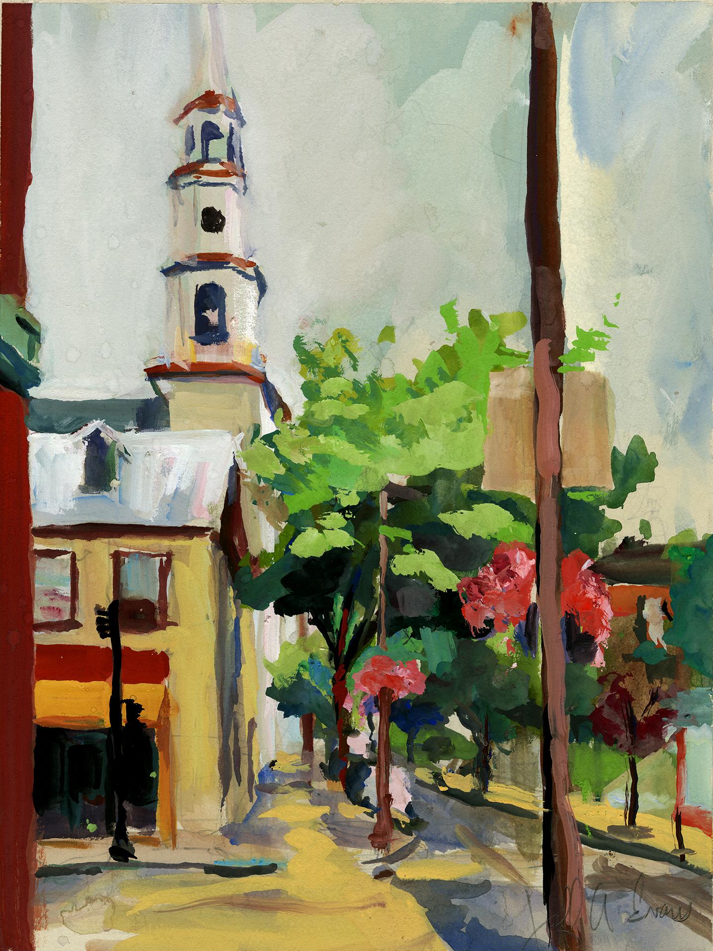 """""""CHURCH STREET"""" - 11 x 14 gouache"""