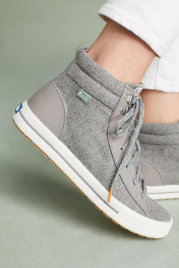High tops are always cool. This grey wool version throws a chic curve into the style.