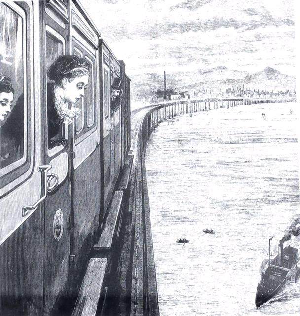 Tay Bridge - Sketch of Queen Victoria looking down from train - The Railways of Britain.jpg