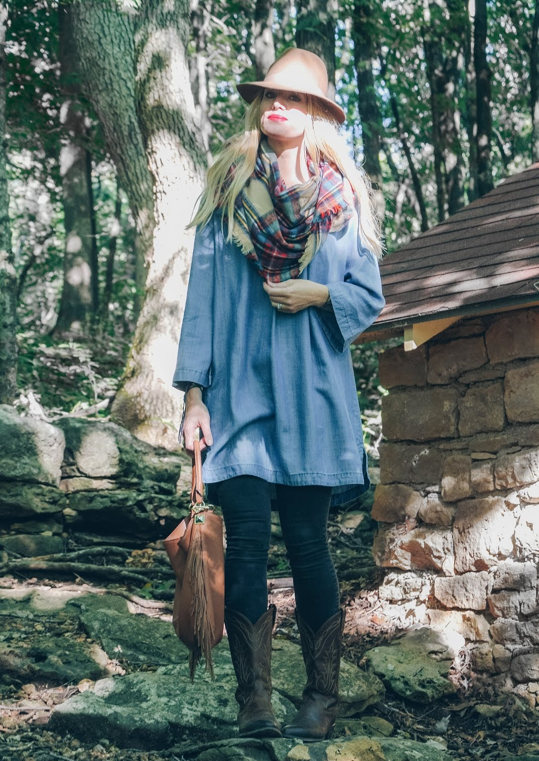 chambray tunic outfit with cowboy boots. felt wool fedora. fringe bag. cowboy boots outfit. fall outfit-28.jpg