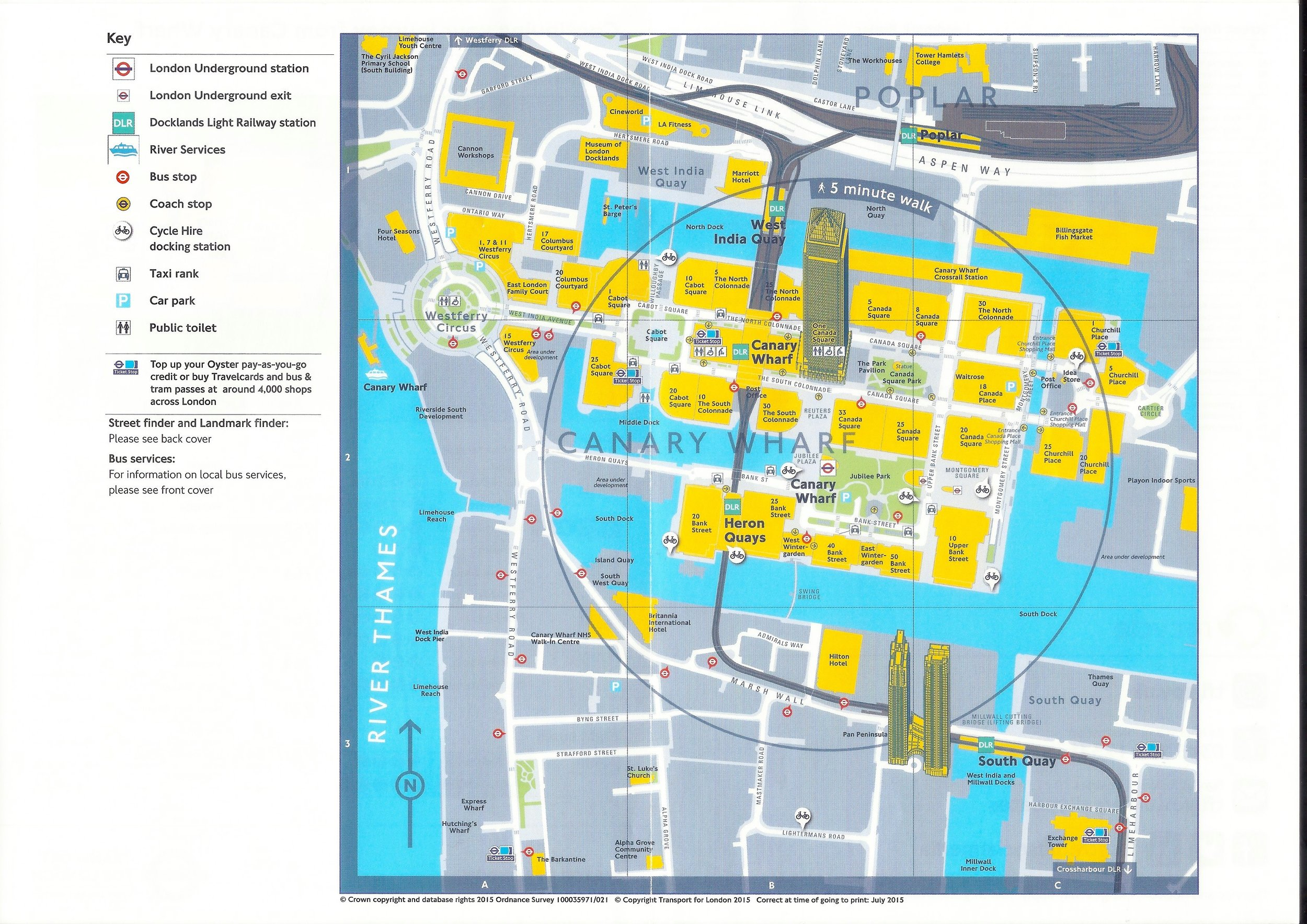 map of the Canary Wharf area. canary riverside is located top left. nb four SEASONs hotel now known as canary riverside plaza