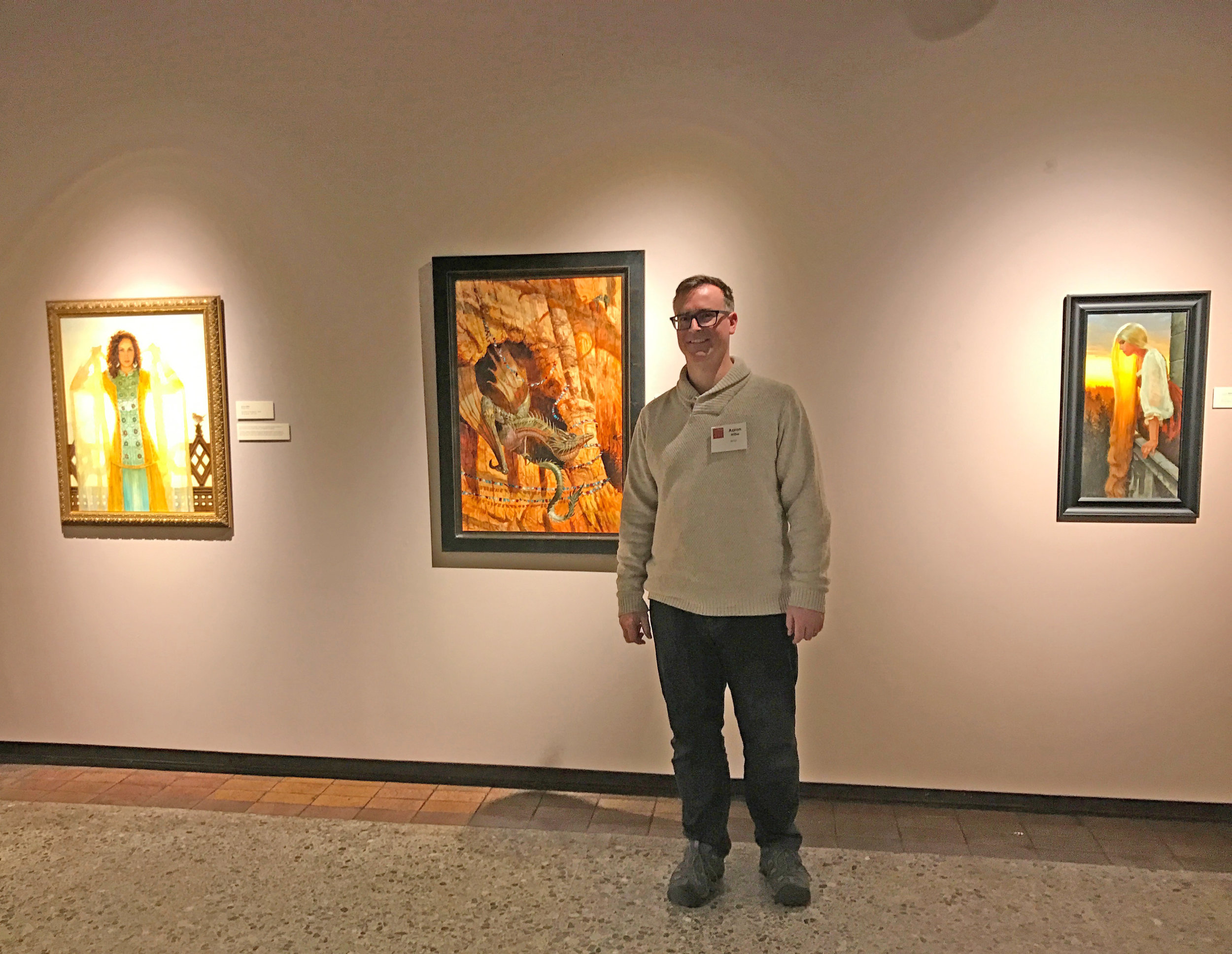 Three of my paintings hanging in the Dream Worlds Exhibit at the Canton Museum of Art