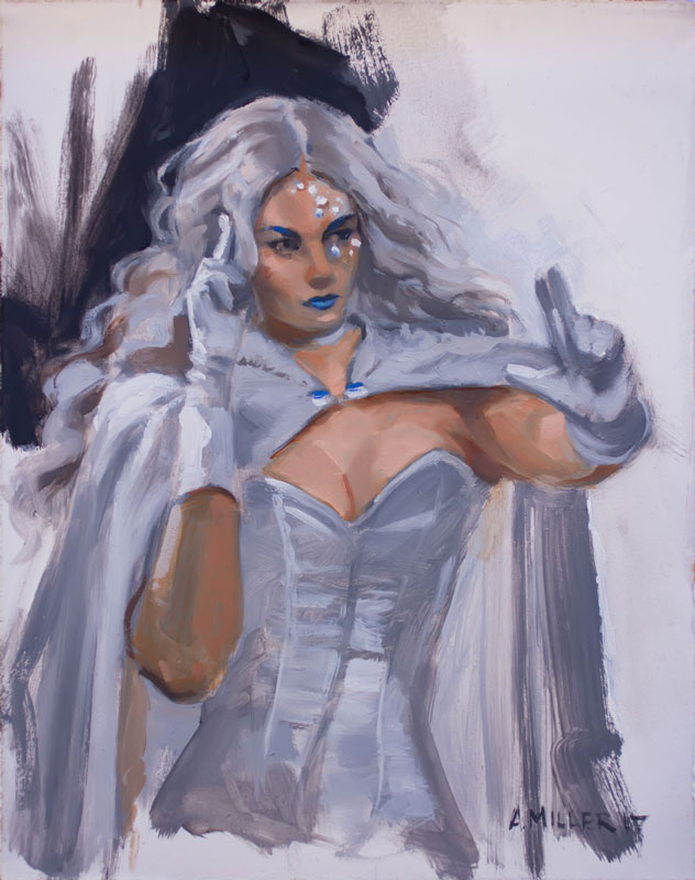 emma frost costumed model for the figurative illustration workshop at platform studios painted in oils from life.