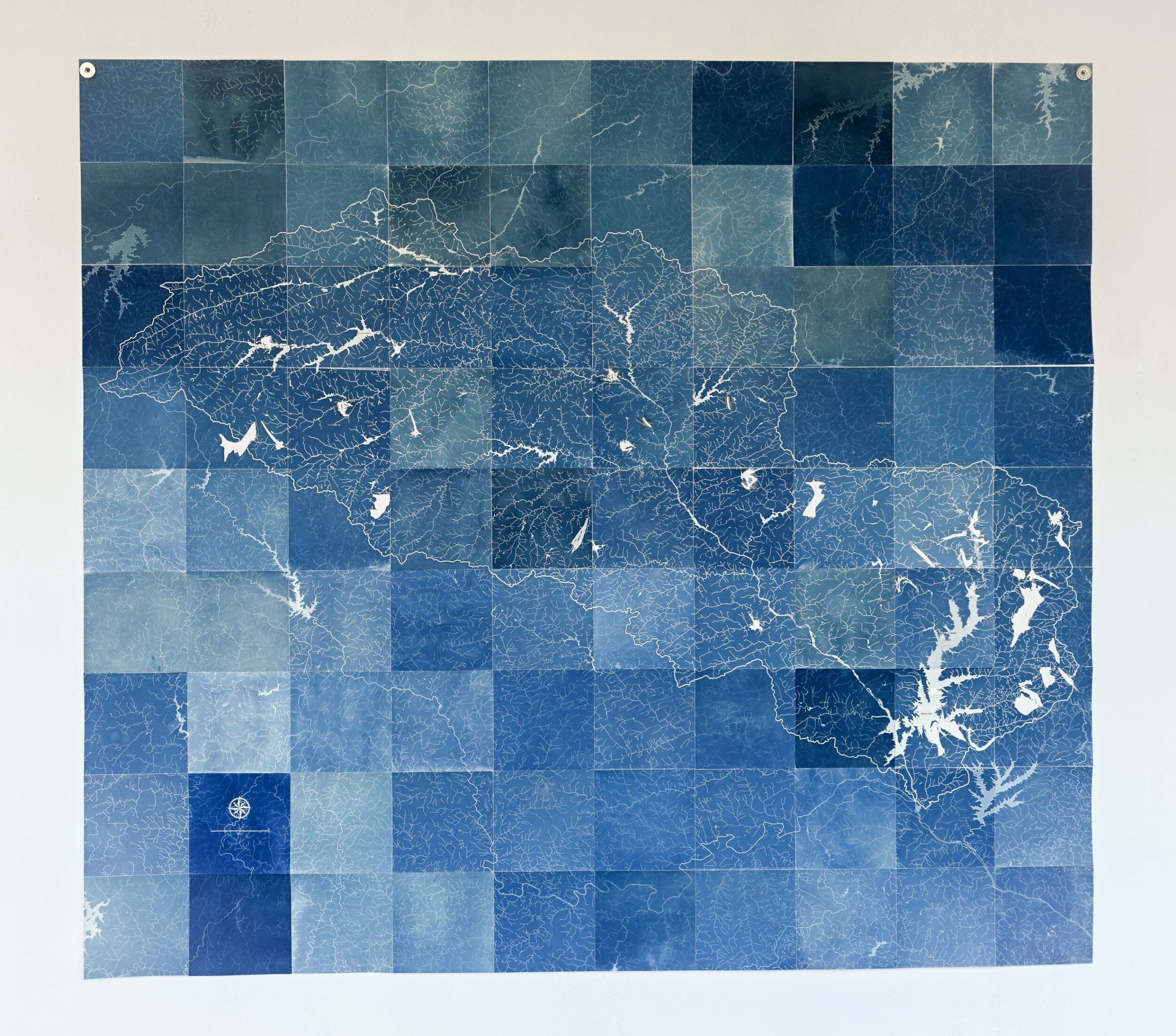 Map of Fish Kill Events in the Jordan Lake Watershed, 1997-2018 , Sun printed cyanotype and ink on paper, 2019