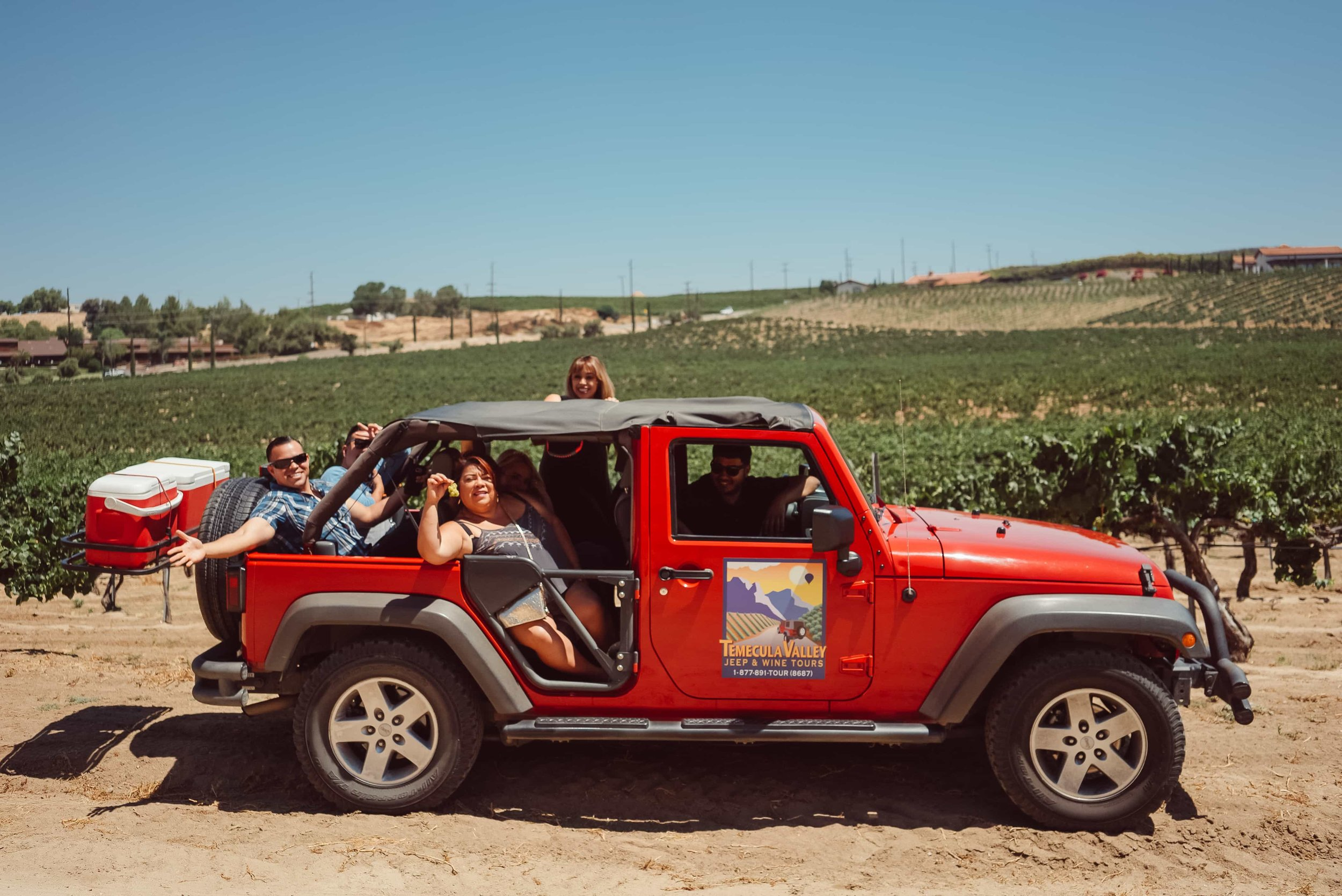 People having fun on on a jeep tour
