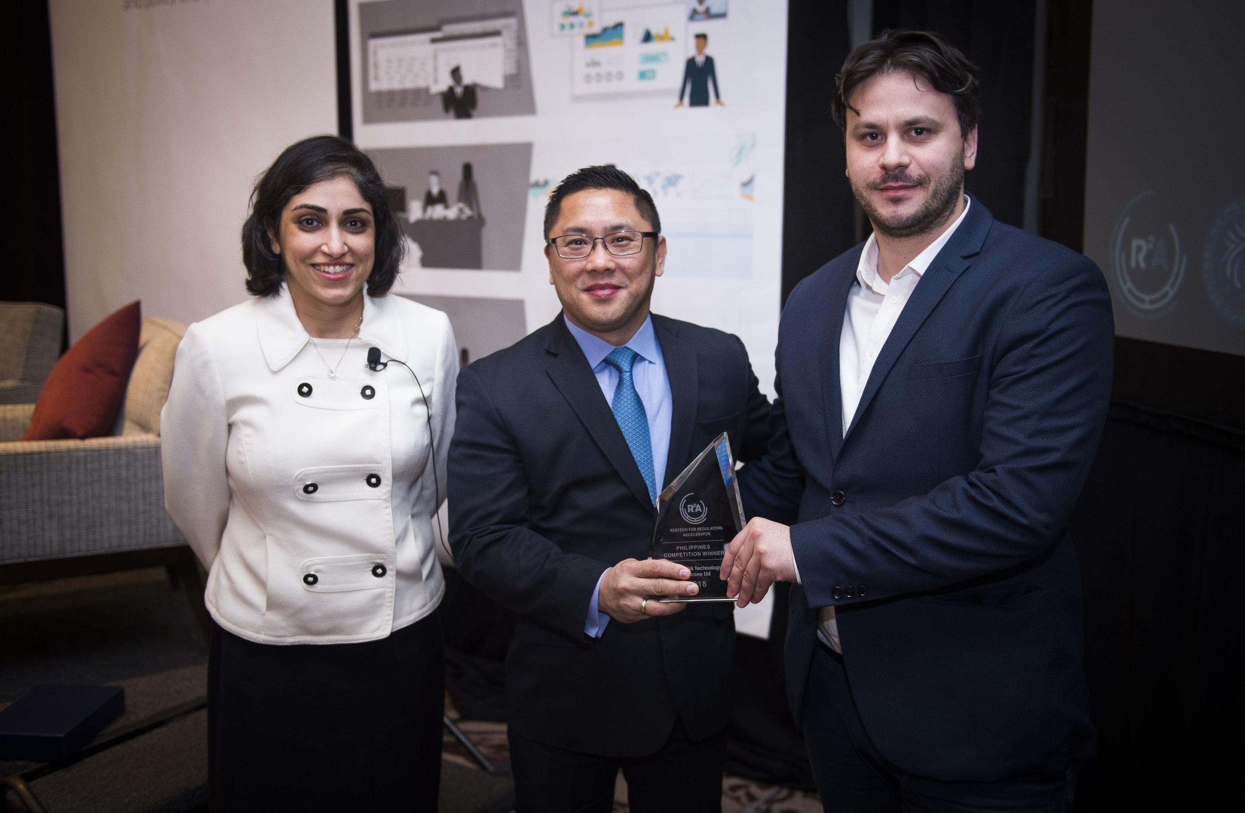 From left: Rosita Najmi (Bill & Melinda Gates Foundation), Vicente De Villa (Bangko Sentral ng Pilipinas), and Dragan Oremuš (Compliant Risk Technology LLC)