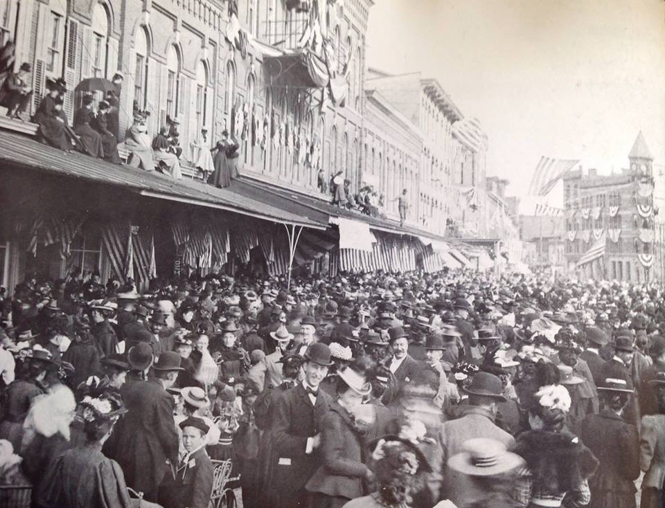 A warm welcome home to the soldiers that fought in the Spanish-American War. October 1898, Pennsylvania Ave West, right in front of AO store.