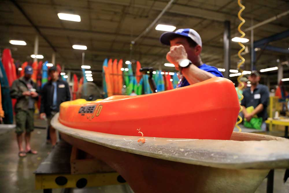 Every kayak is given an ultrasound. Measurements are taken on the mold in multiple spots to be sure the mold hasn't thinned out.