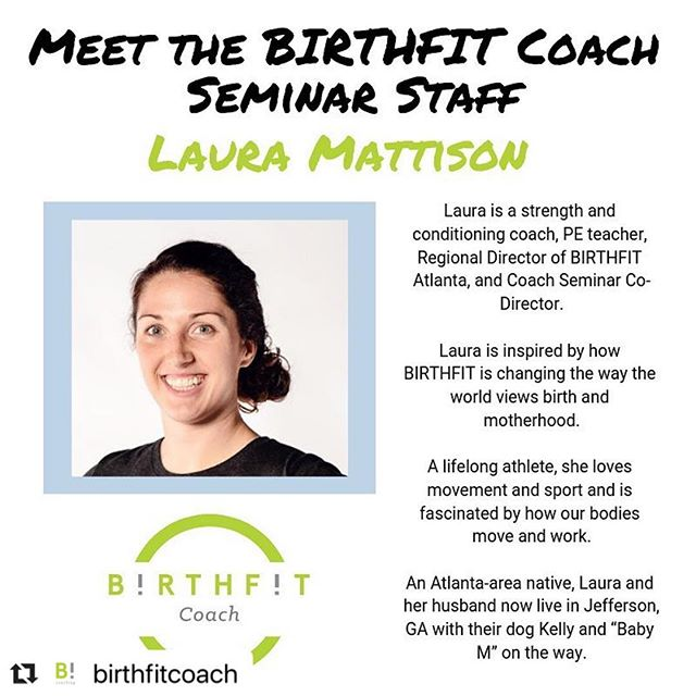 Honored and blessed to be part of the @birthfitcoach Seminar staff! I'll be leading the Coach Seminars we have coming up in April in Hampton Roads, VA and Columbus, OH. Come see me and join the #birthfit movement!! 💚 #Repost @birthfitcoach with @make_repost ・・・ 👑M E E T ▫️T H E ▫️S T A F F 👑 ____ Meet Laura, (@birthfit_atlanta ) our BIRTHFIT Coach Seminar Co-Director! As an avid athlete her whole life, Laura comes with years of coaching experience and also works with kids daily as a PE teacher and coach. If you've ever attended a Coach Seminar that Laura is leading, you know her energy is infectious. She and her husband will be welcoming their first baby this summer! 🥰👶🏻 —— #birthfit @birthfit #birthfitcoach #fitness #queen