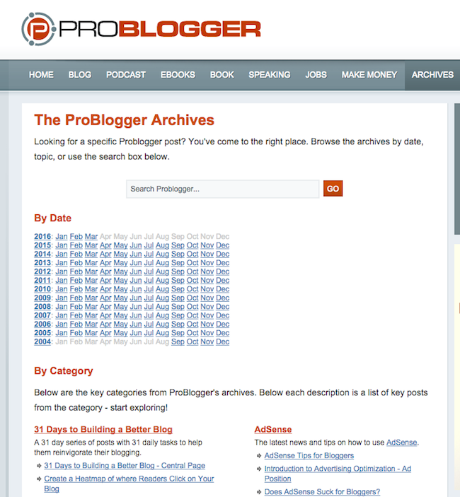Blog archive example: Problogger