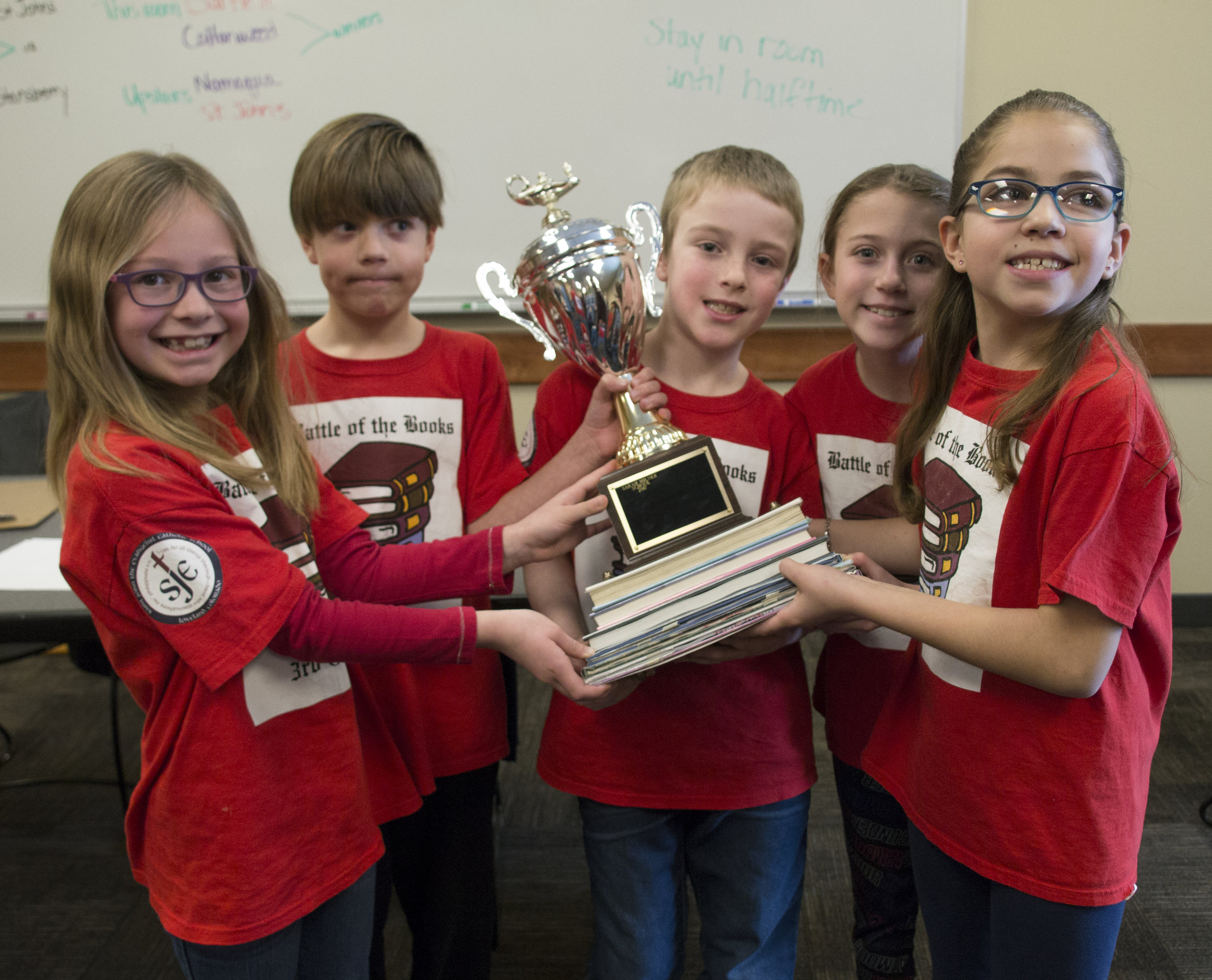 3rd Grade Battle of the Books Team with the Championship Trophy.