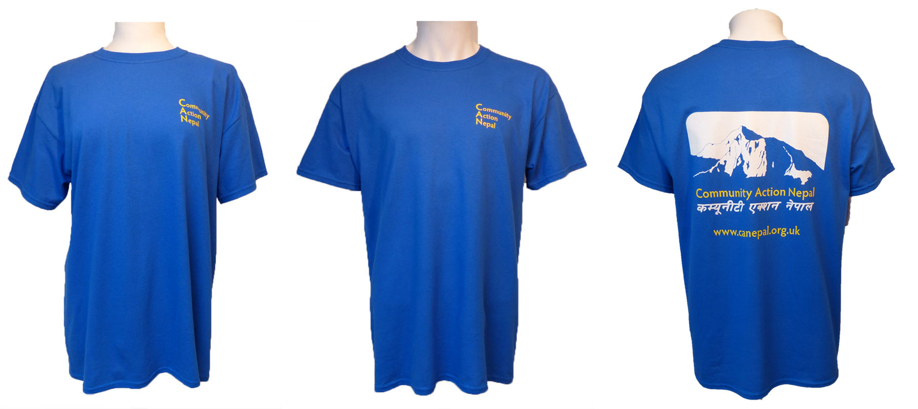 CAN T-shirts available in four sizes - small, medium, large and extra-large. Cost  £8.00 plus £3.50 p&p