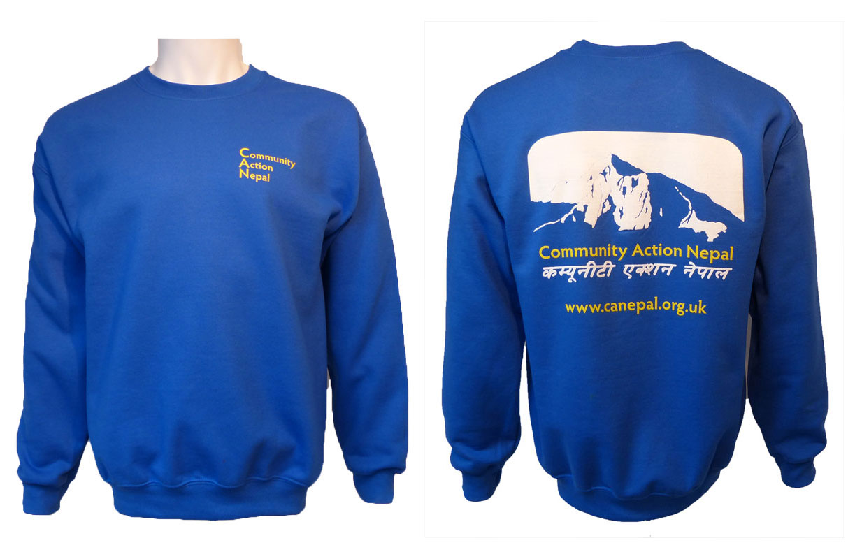 CAN Sweat shirts available in four sizes - small, medium, large and extra-large.  Cost £12.00 + £4.00 p&p