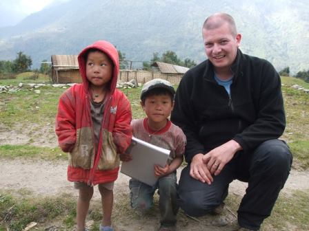 Andrew with Nepali children