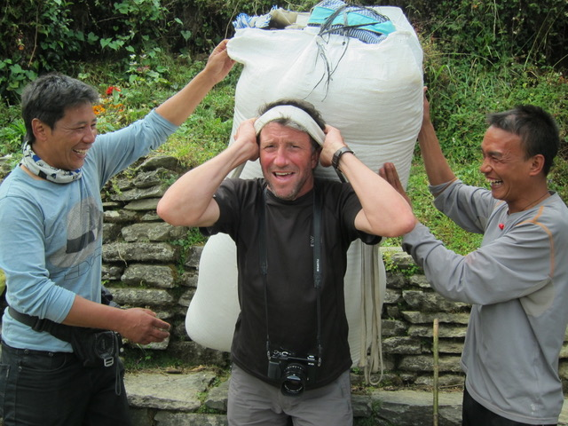 Keith in Nepal trying a load on for size!