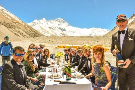 Neil (standing) and the rest of the team at a rehearsal dinner at Everest Base Camp at the end of April.