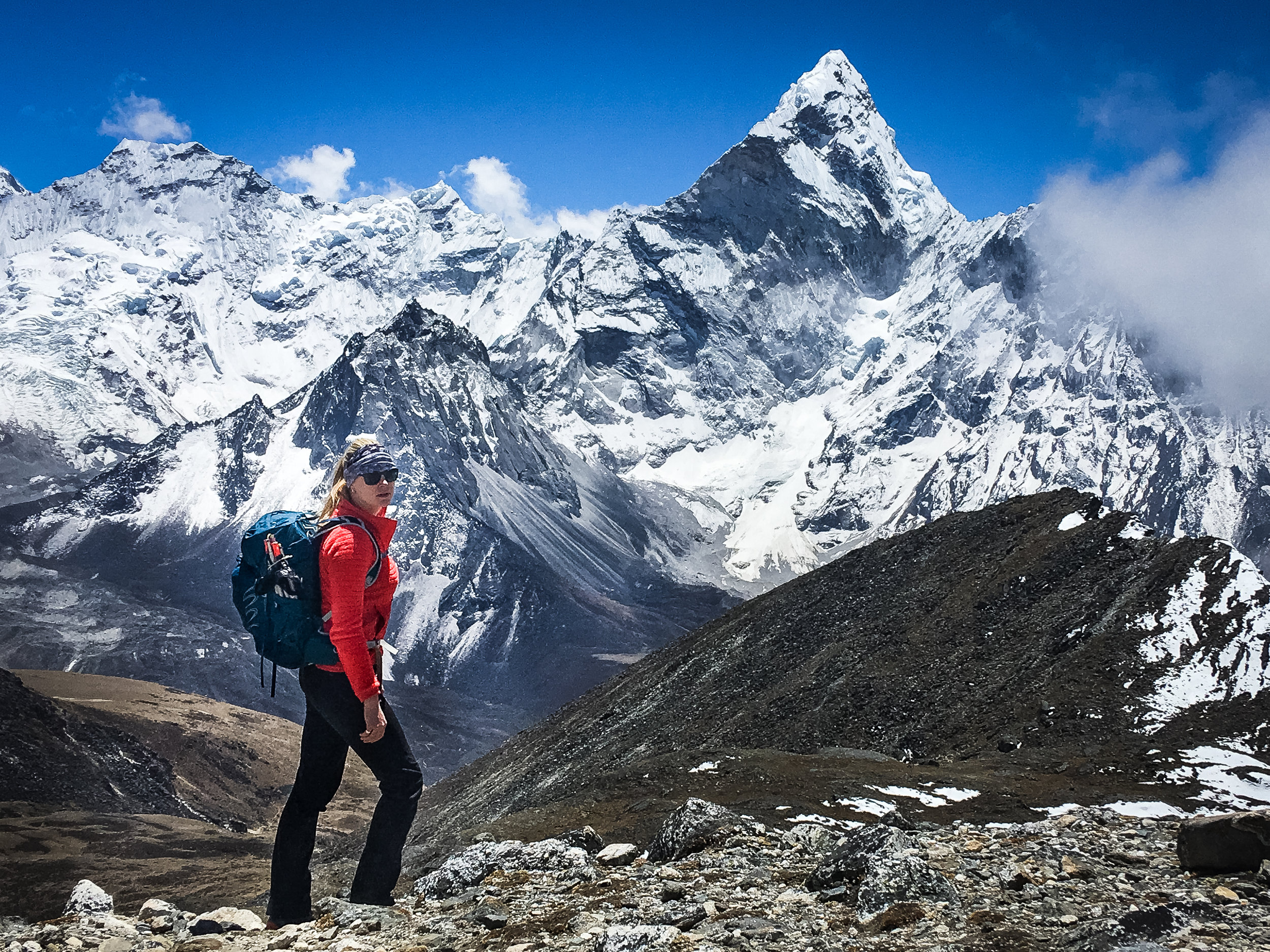Gemma at the top of the final pass, Kongma La with Ama Dablam in the background.
