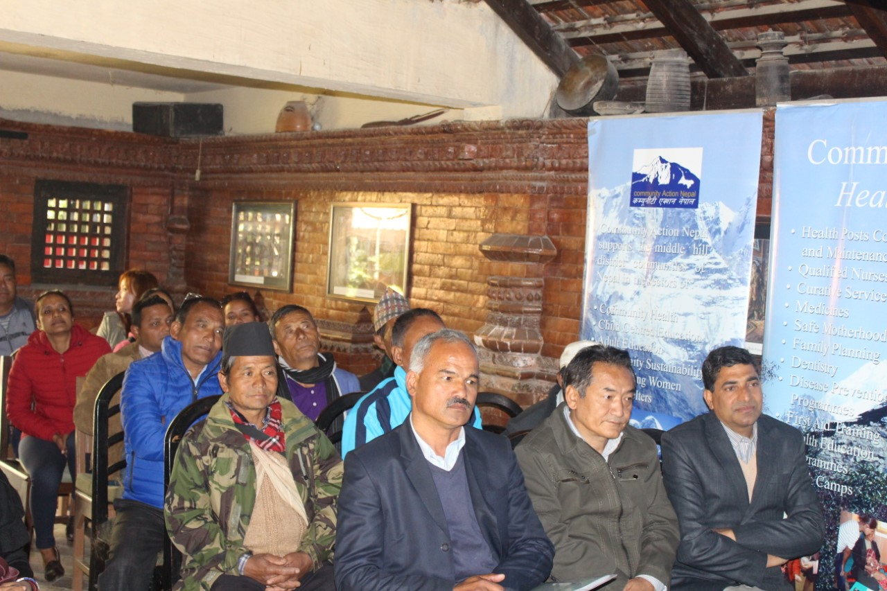 CAN NEPAL AGM: Seated on the front row (Left to right): Purna Gautam, (retiring Chairman); Nima Lama (Vice-chairman) and Murari Gautam (Operations Manager Nepal) with community representatives behind.