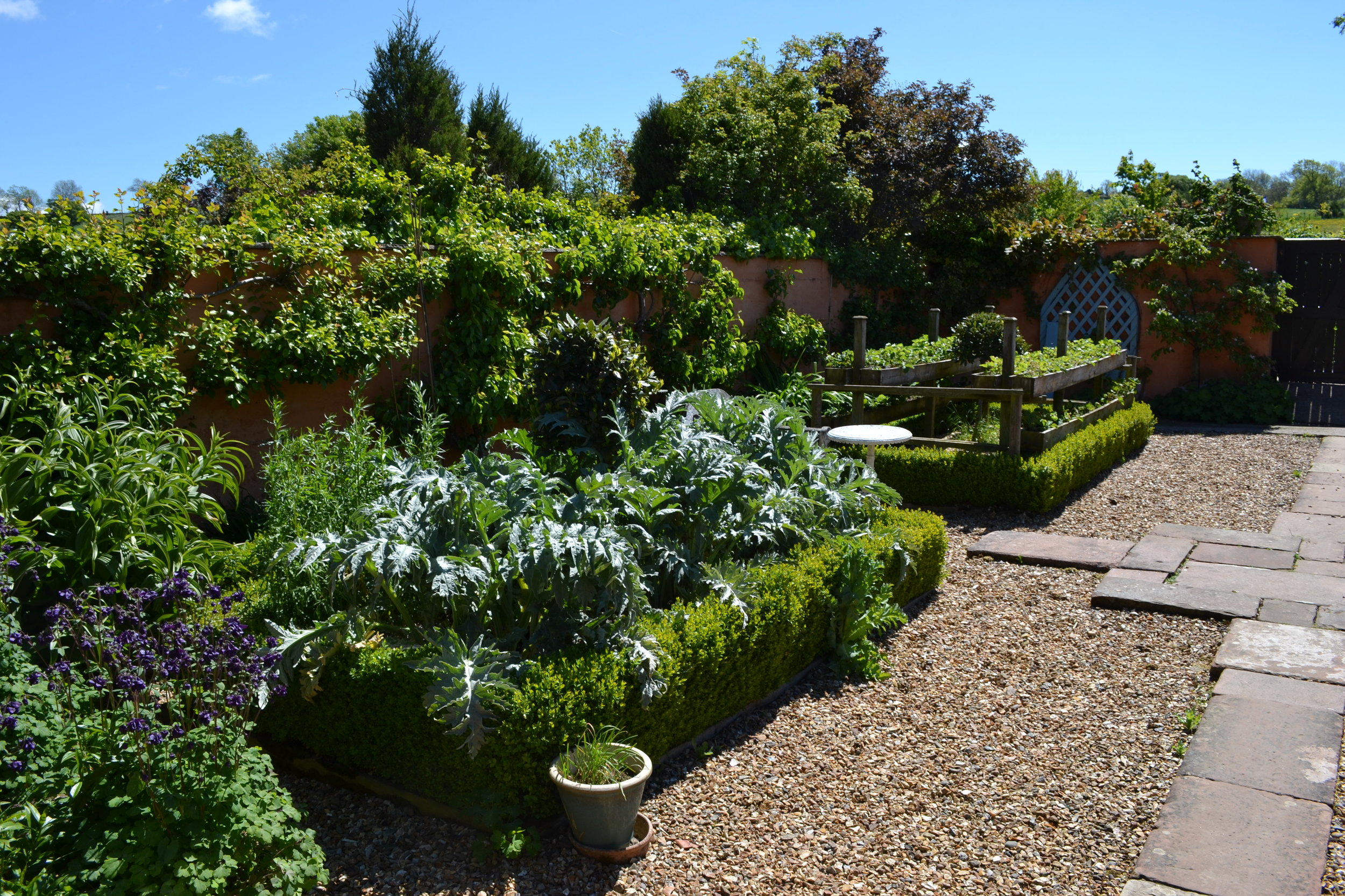 Another view of the walled garden illustrating the unique tiered strawberry planters and some very healthy cardoons in the foreground.