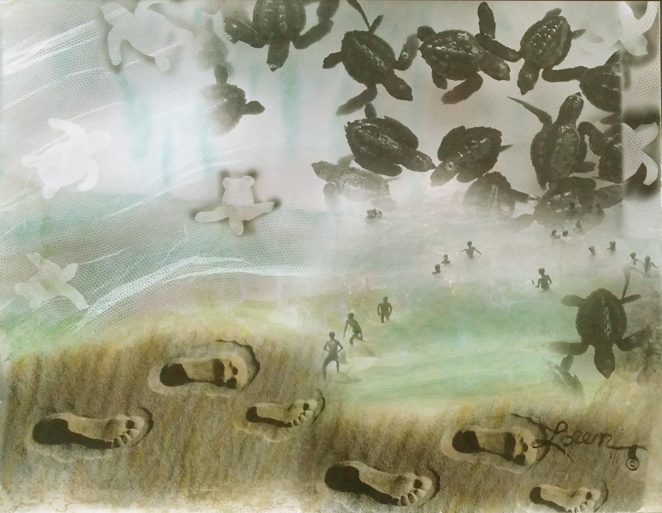 Ixtapa Mexico baby turtles to ocean via man 2 of 2   20 x 16.jpg