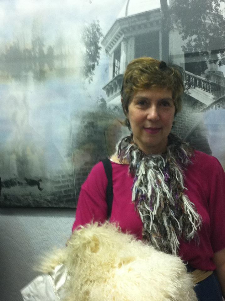 Loren with her art at Snug Harbor Art Gallery 2013.jpg