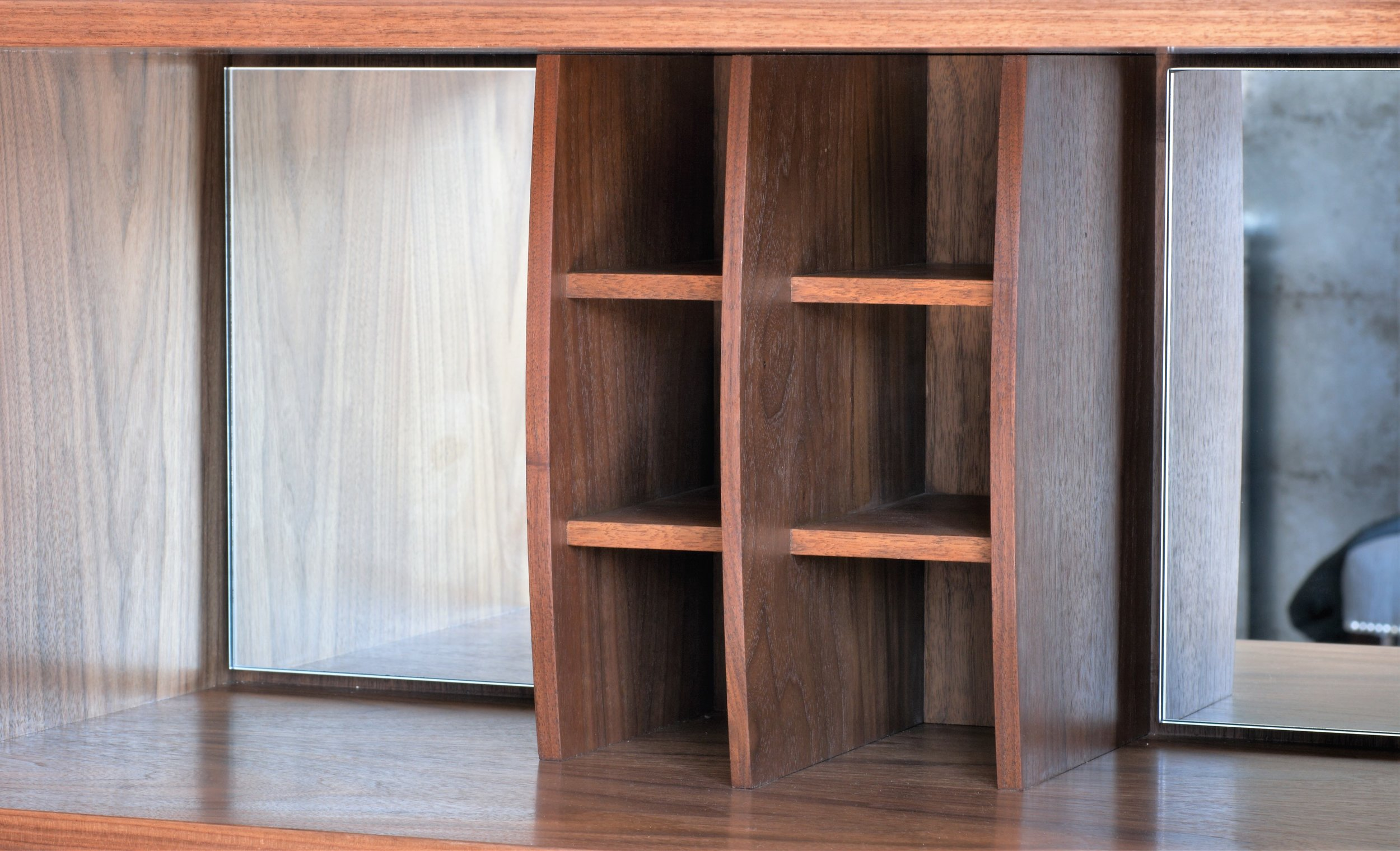 Heliconia Furniture Walnut Steel drinks cabinet wine rack.jpg