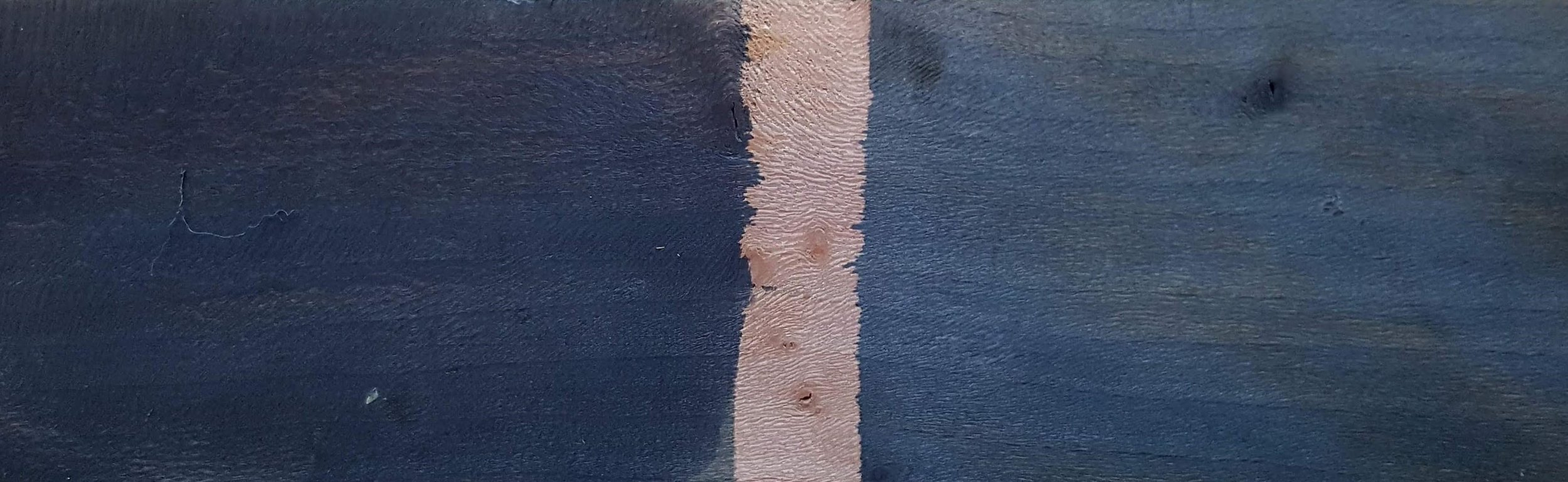 Ebonised London Plane - its tanins drawn by tea (on the left) and red wine (on the right)