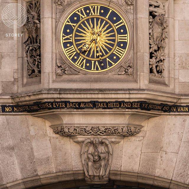 Pretty cool shot of the clock and statement on a building @storeyproject are working on at the moment.  #storeyproject #projectmanagement #historicbuilding #london #clock #time #conservation
