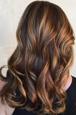 Multicoloured brown hair with highlights. Looks dimensional.