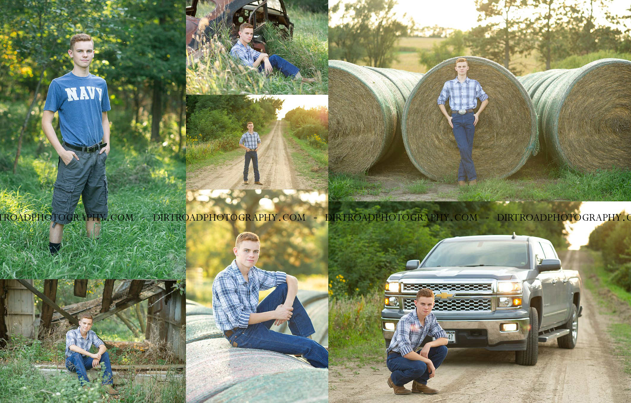 images-of-high-school-senior-boy-chase-wittenhagen-from-pius-x-high-school-class-of-2019-lincoln-nebraska-photos-dirt-road-photography-southeast-nebraska-saline-county-kelsey-homolka-nerud-rural-farm-dorchester-haybales-sunset-trees-jeans-cowboy-boots-plaid-button-up-shirt-wranglers-red-hair-abandoned-old-building-chevy-truck-navy-shirt-old-rusty-car-graduation-yearbook-pictures