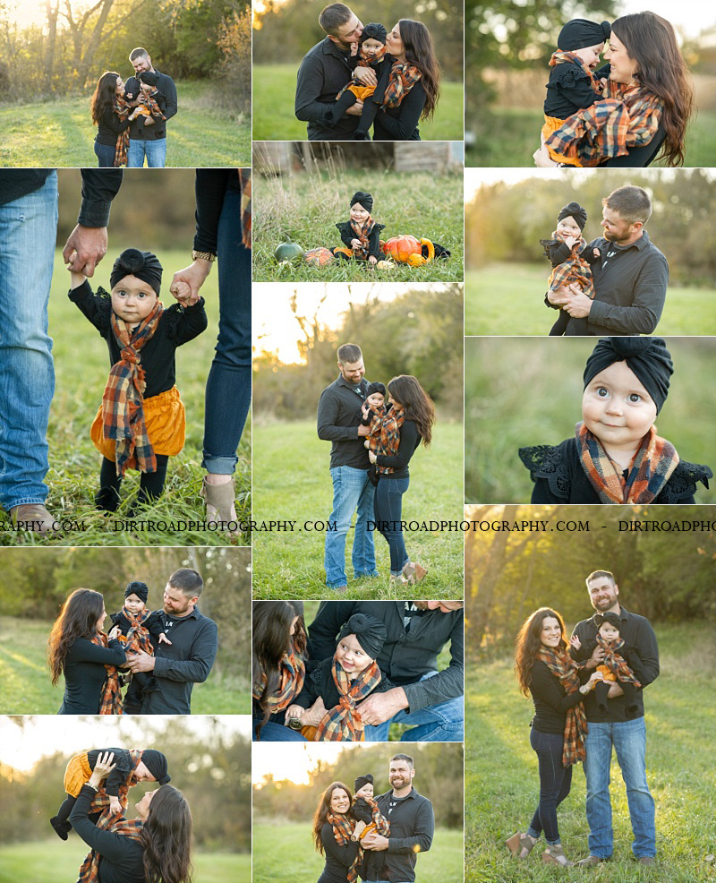 images-of-family-of-three-aaron-chrissy-timber-niederklein-from-wilber-nebraska-dirt-road-photography-rural-southeast-nebraska-saline-county-kelsey-homolka-nerud-black-shirts-six-month-old-baby-plaid-orange-scarves-trees-sunset-farm-smiling-happy-laughing-pumpkins-fall-green-tall-grass-old-rustic-barn