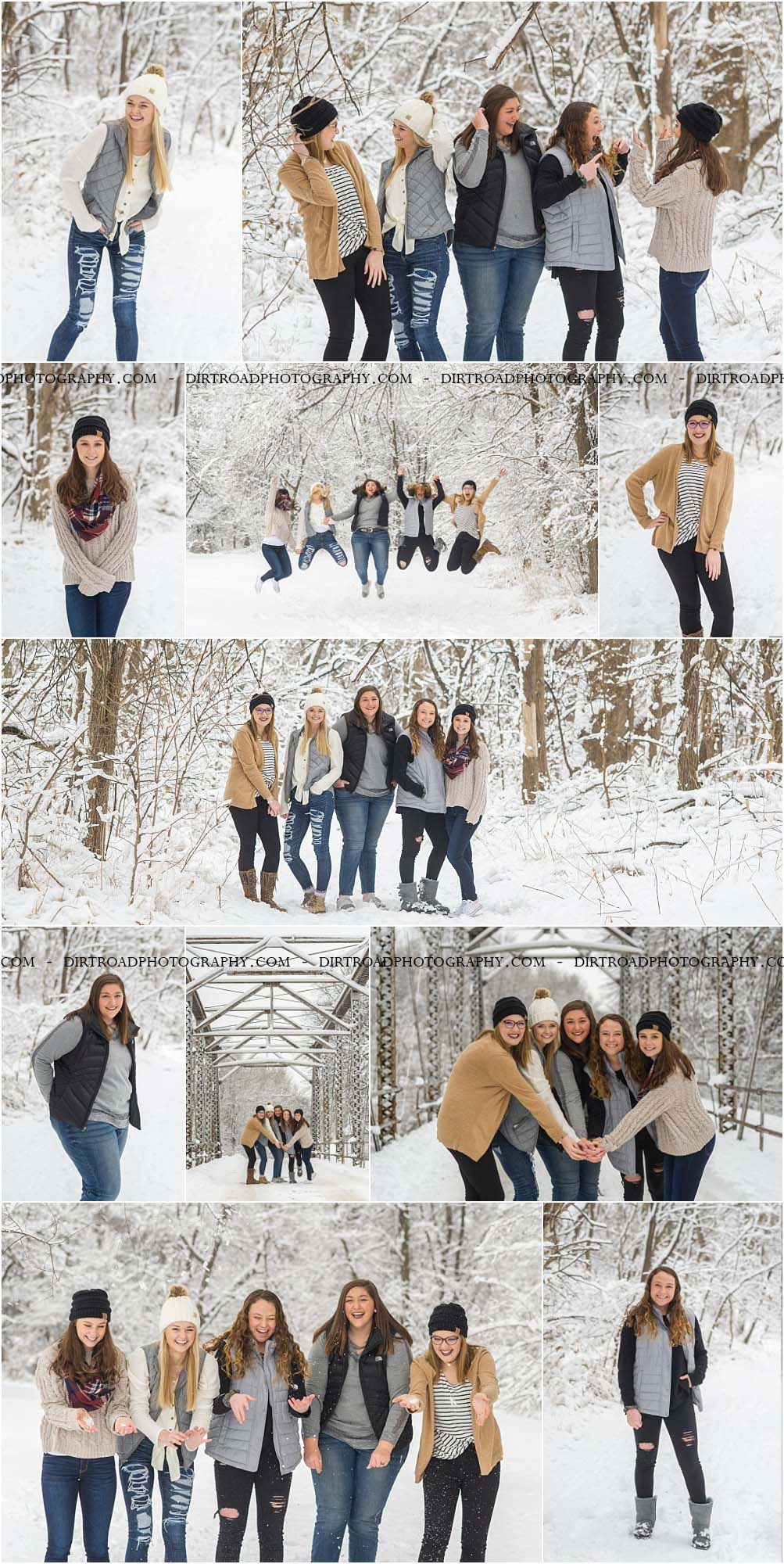 picture of high school senior girls from high schools in nebraska including wilber-clatonia high school, milford high school, friend high school, tri-county high school and norris high school. girls are in blue jeans with cream and white sweaters and winter boots, playing in snow with puffer vests and cc beanie caps. girls laughing and taking pictures in snow throwing it in the air for high school photography dirt road photography by kelsey homolka nerud photographer.