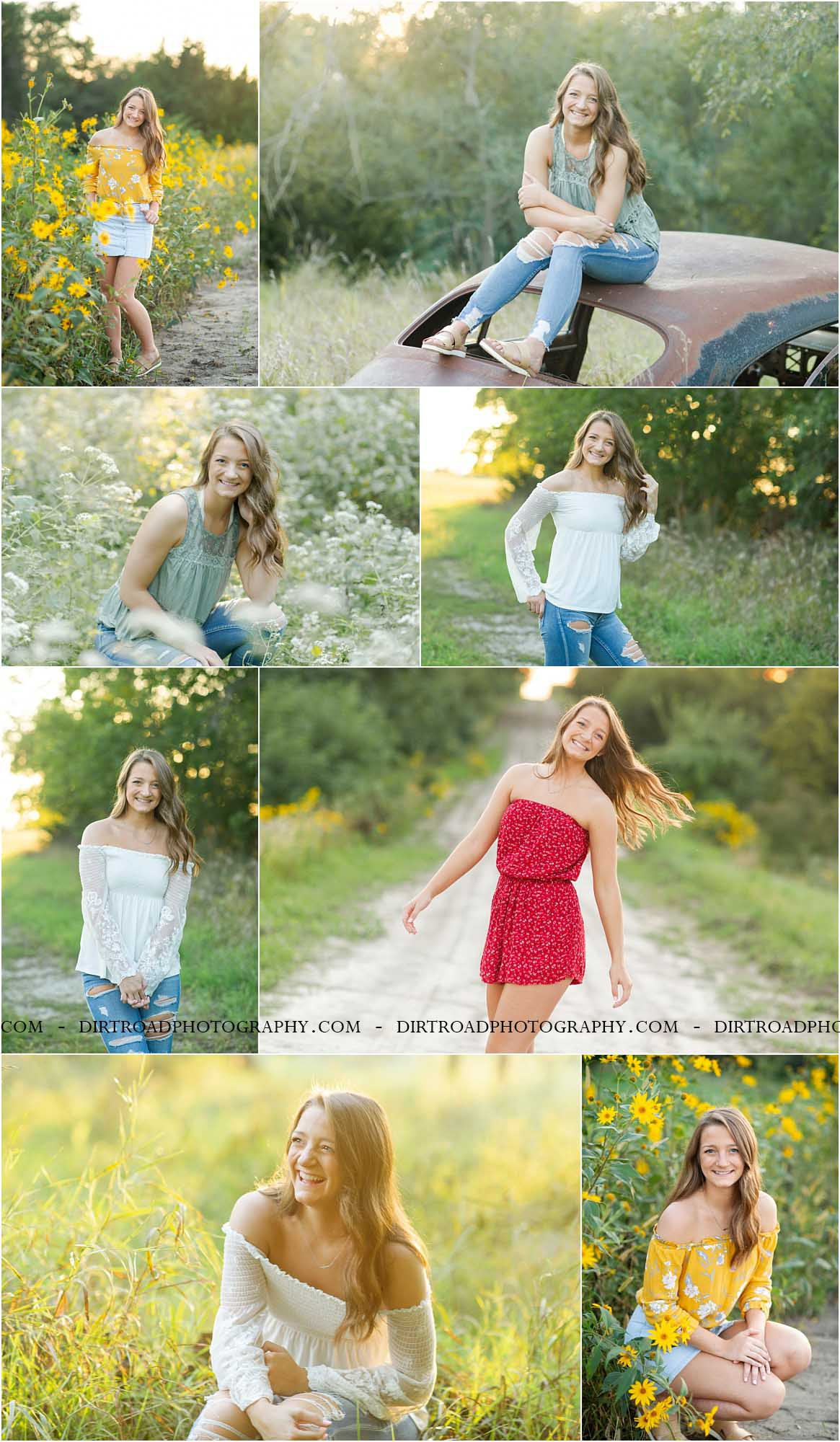 images of high school girl senior photos named lizzie kubicek of wilber nebraska who went to wilber-clatonia high school in nebraska and is part of the class of 2019. photos were taken near dorchester nebraska in saline county. photo includes road side sunflowers on a dirt road at sunset with girl in denim button up jean skirt with off the should yellow floral flowy shirt with long brown hair. old rustic abandoned car in senior pictures with skinny brown haired girl sitting on car at sunset with trees and tall green grass surrounding it. dirt road surrounded by trees and dust at sunset. tall grass with a sunset behind as well. photographer is kelsey homolka nerud of wilber nebraska who specializes in high school senior photography and senior pictures.
