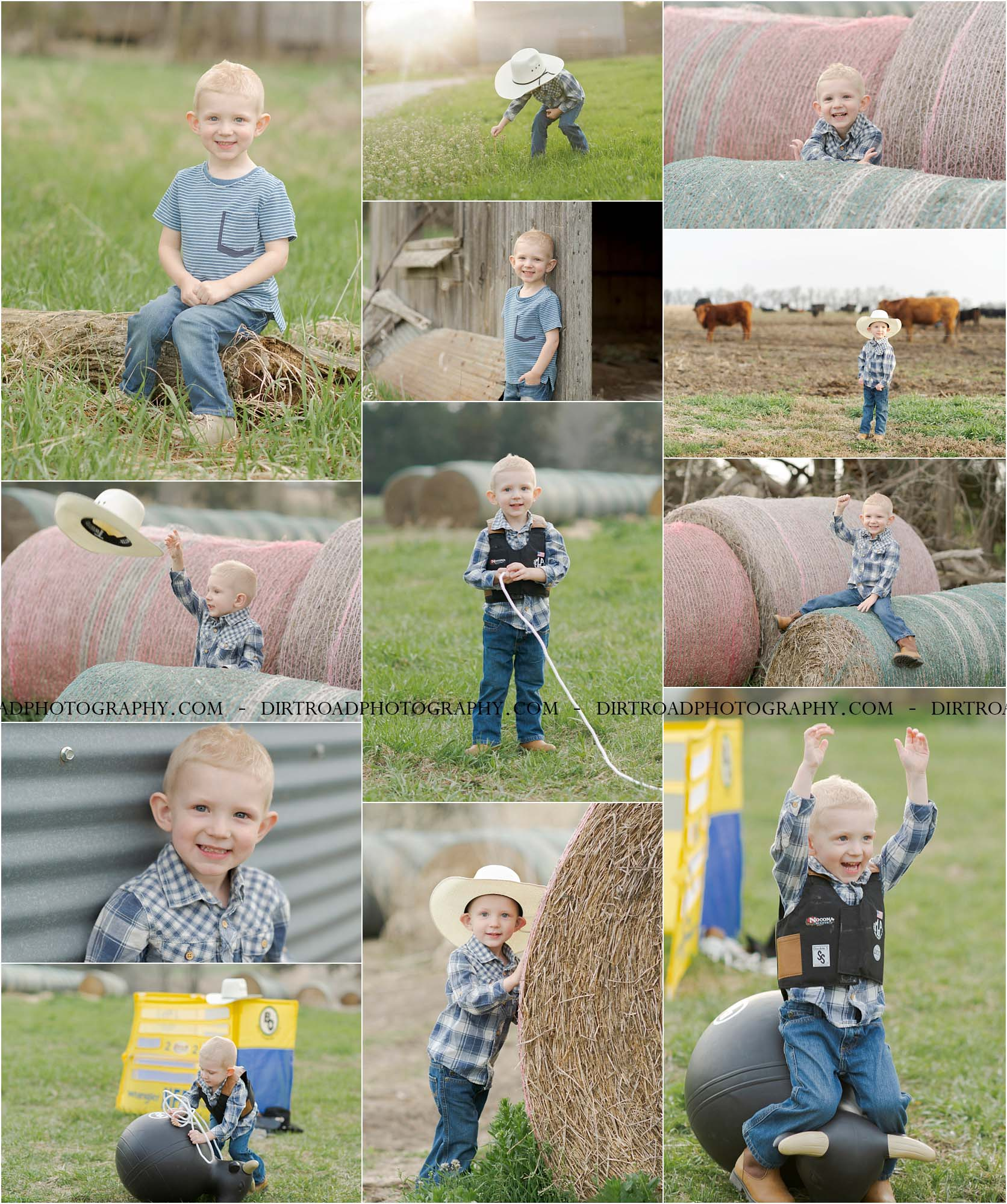 picture of three year old boy in plaid button up shirt and wrangler jeans with cowboy boots sitting on a hay bale wrapped with red twine. grayden lester is celebrating his third birthday on the farm with his cowboy hat, buckin bull chute, bouncy ball bull, chaps, bull rider vest and rope. photo taken by dirt road photography at sunset near dorchester nebraska.